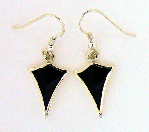 Whitby Jet Silver Drop Earrings ND61