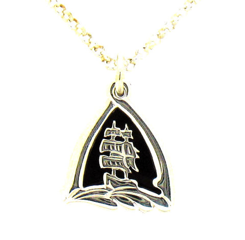 Whitby Jet Silver Small Endeavour Pendant NP27J
