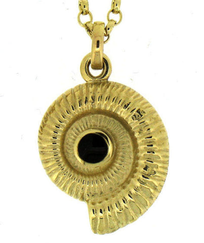 Whitby Jet and Gold Ammonite Pendant N P AM