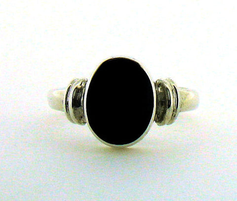 Whitby Jet Silver Ring NR29
