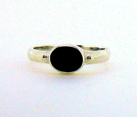 Whitby Jet Silver Ring NR30