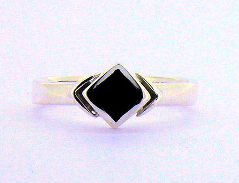 Whitby Jet Silver Ring NR32