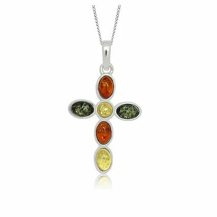 Amber and Silver Cross Pendant on Chain P038M