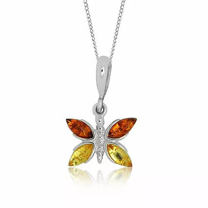 Amber and Silver Butterfly Pendant on Chain P1019X