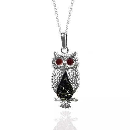 Amber and Silver Owl Pendant on Chain P1087X