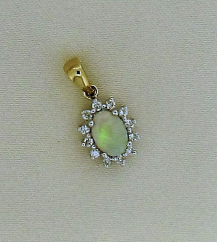 Opal and Diamond Gold Pendant P160