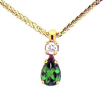 Green Garnet (Tsavorite) & diamond pendant with chain P294
