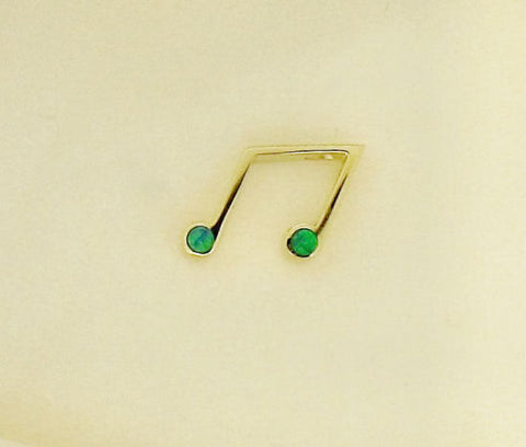 Opal and Gold Music Note Pendant P84