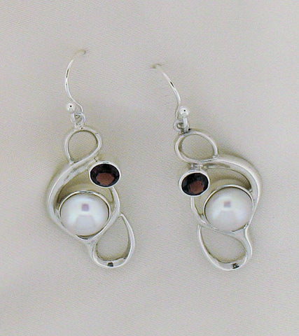 Pearl and Garnet Silver Drop Earrings ERG3295