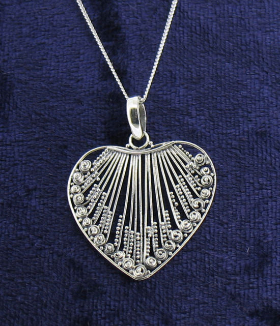 Silver Wire-Work Fancy Heart Pendant on Chain PS233 by Youngs ...