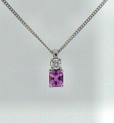 Sapphire (Pink Stone) and Diamond White Gold Pendant P292