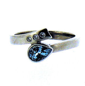 Aquamarine & Diamond Gold Ring R2849