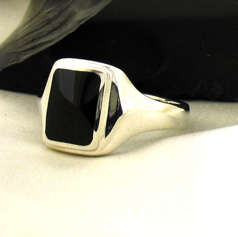Jet and Silver Gents Oblong Signet Ring R390