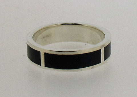 Whitby Jet and Silver 6mm Band Ring RW10