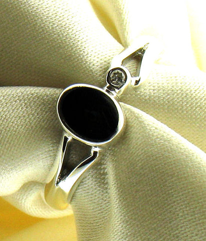 Whitby Jet and Diamond Silver Ring NR-73A