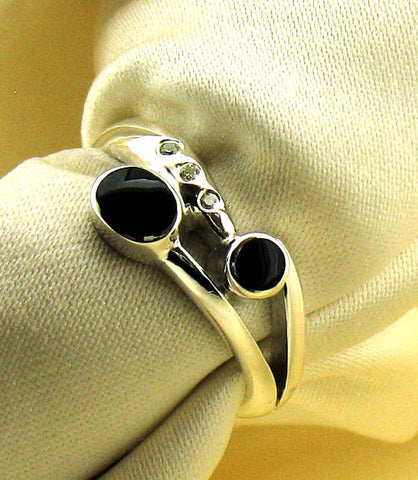 Whitby Jet and Diamond Silver Ring NR-74C