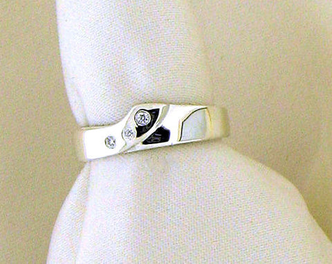 Diamond and Silver Shaped Wedding Band NR-76D