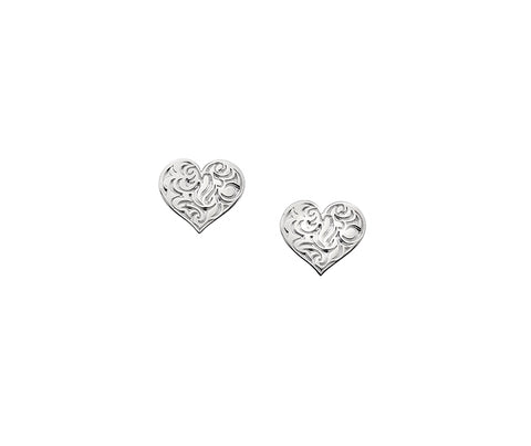 Silver Embossed Heart Stud Earrings SDE166
