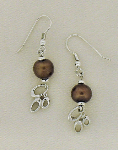 Pearl (Brown Freshwater) and Silver Drop Earring SE290