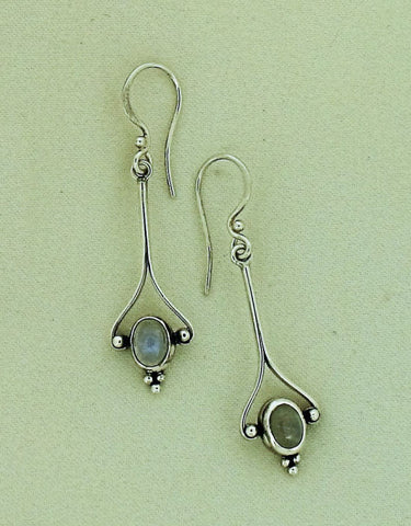 Moonstone and Silver Drop Earrings SE97