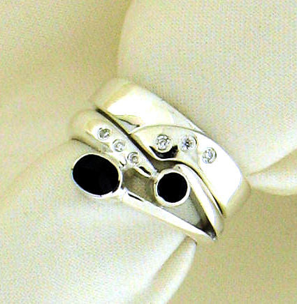Whitby Jet and Diamond Silver Engagement and Wedding Ring Set NR-74C/76D