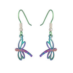 Titanium Dragonfly Drop Earrings E406