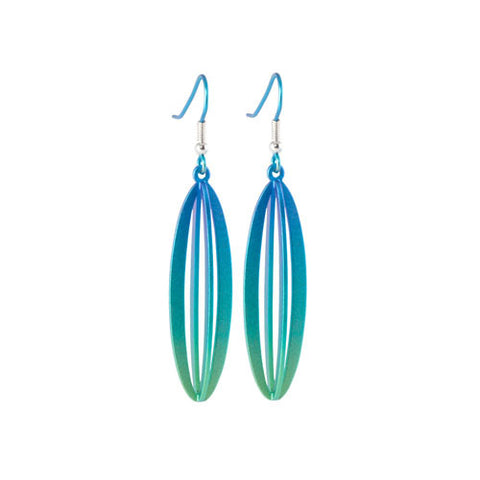 Titanium (Green) 3 Dimensional Drop Earrings E451.