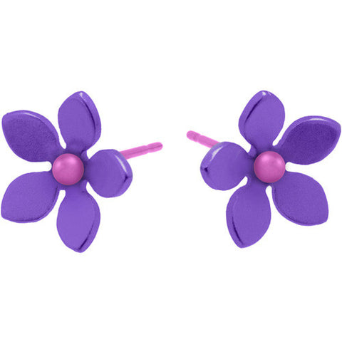 Titanium (Purple) Flower Studs S321.72V