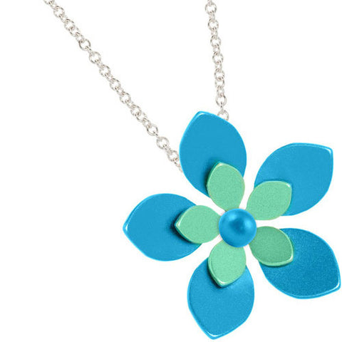 Titanium (Blue/Green) Flower Pendant P397