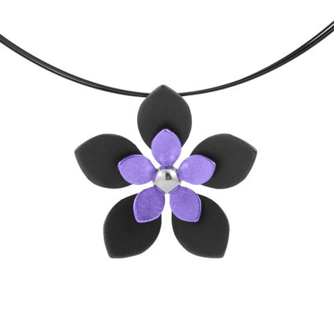 Titanium (Black/Purple) Flower Pendant P413.72V