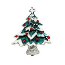 Silver and Enamel Christmas Tree Brooch NB0039A