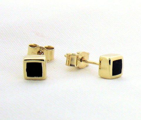 Whitby Jet and Gold Stud Earrings YO4S