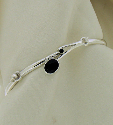 Whitby Jet and Diamond Silver Bangle NB-77E