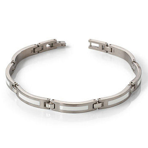 Titanium and White Enamel Bracelet B03806