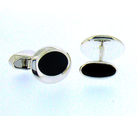 Whitby Jet & silver Cufflinks BS121