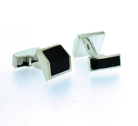 Whitby Jet & Silver Cufflinks BS44