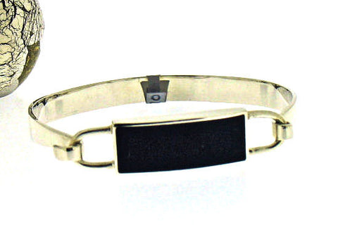Whitby Jet & Silver Bangle CBG7