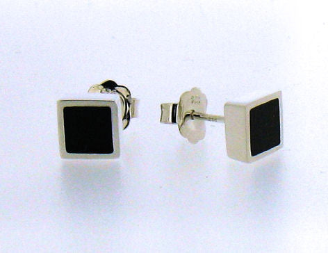 Whitby Jet & Silver Stud Earrings CE242