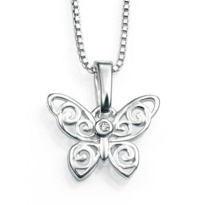 D for Diamond Silver Butterfly and Chain P3567