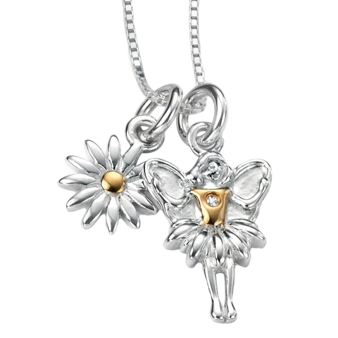 D for Diamond Silver Flower and Fairy on Chain P4102