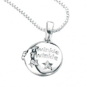 D for Diamond Silver Twinkle Star Locket and Chain P3724