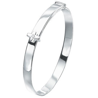 D for Diamond Silver Cross Bangle B775