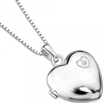 D for Diamond Silver Heart Locket and Chain P2548