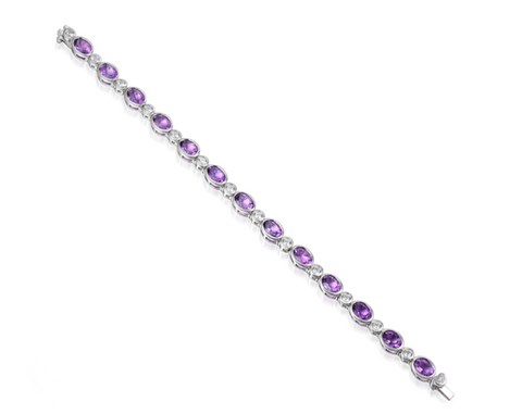 Amethyst and Cubic Zirconia Silver Bracelet 9504AM