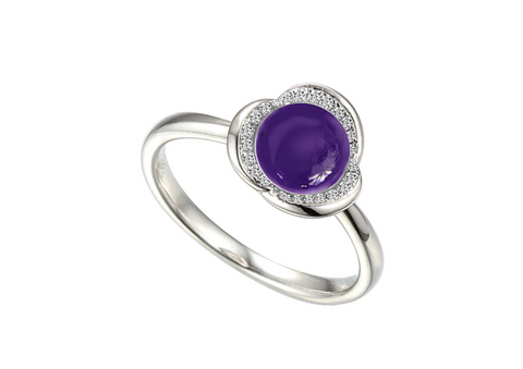 Amethyst and Cubic Zirconia Silver Ring 9226