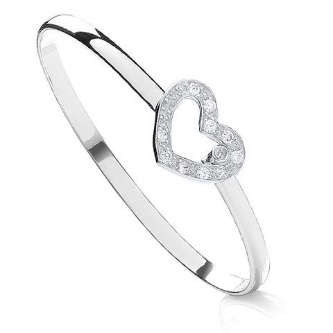 Silver and Cubic Zirconia Heart Baby Bangle BN39