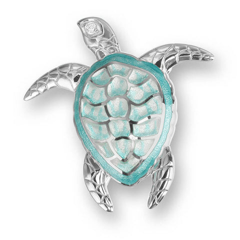 Enamel and Sterling Silver (Green) Turtle Brooch-Pendant with White Sapphires NB0170YB