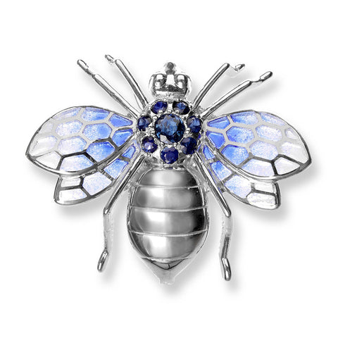 Sapphire and Enamel Silver Bee Brooch NBO195TB