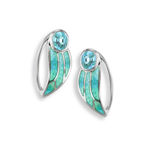 Enamel and Blue Topaz Silver Leaf Stud Earrings NEO164SA