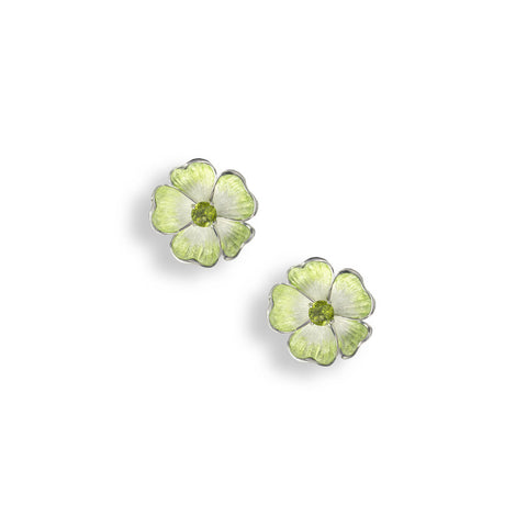 Enamel and Peridot Silver Rose Stud Earrings NE0364SC